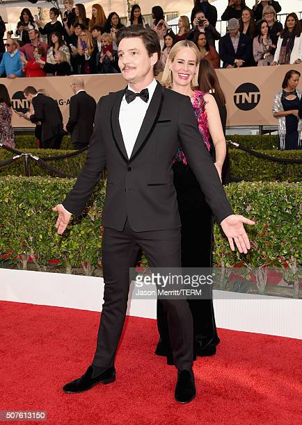 Actor Pedro Pascal and actress Sarah Paulson attend The 22nd Annual Screen Actors Guild Awards at The Shrine Auditorium on January 30 2016 in Los...