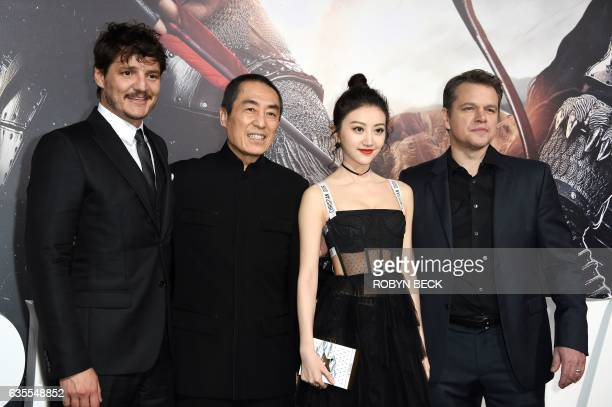 Actor Pedro Pascal director Zhang Yimou actress Jing Tian and Matt Damon attend the premiere of Universal Pictures' 'The Great Wall' February 15 at...