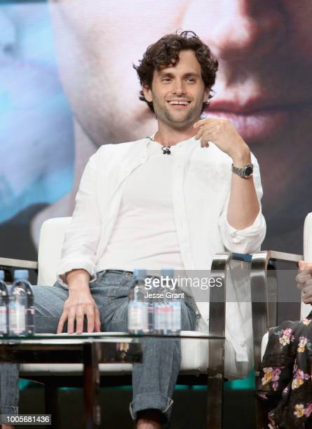 Actor Penn Badgley of Lifetime's 'YOU' speaks onstage during The 2018 Summer Television Critics Association Press Tour on July 26 2018 in Los Angeles...