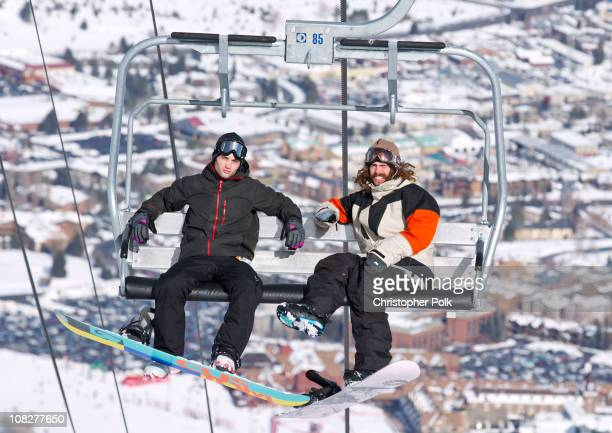 Actor Penn Badgley snowboards with Burton Snowboards at the Park City Mountain Resort during the 2011 Sundance Film Festival on January 23 2011 in...