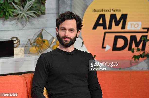 Actor Penn Badgley visits BuzzFeed's AM To DM to discuss season two of Netflix's series You on January 09 2020 in New York City