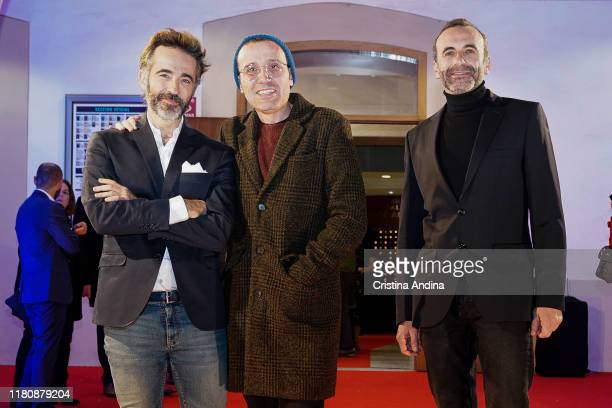 Actor Pepe Ocio director Lino Escalera and actor Antonio Reyes attend Alta Mar second season preview by Netflix at Noia Festival at the hometown of...