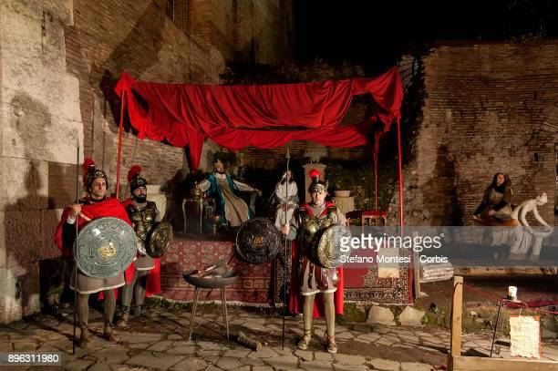 Actor perform Herod in the living nativity scene for Christmas celebrations during the Inaugurated the 'Living Nativity scene of Rome Venite...
