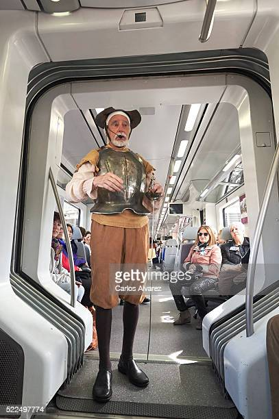 Actor performs scenes from Don Quixote in the train Madrid Alcala de Henares in occasion of the 400th anniversary of the death of Miguel de Cervantes...