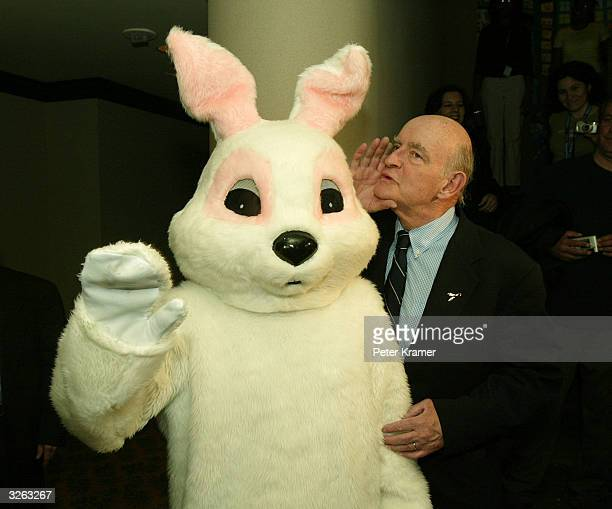 Actor Peter Boyle and the Easter Bunny visit kids with cancer to color eggs and read Easter stories at the Ronald McDonald House April 8 2004 in New...