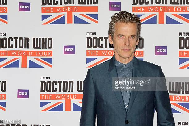 Actor Peter Capaldi attends Doctor Who The World Tour Mexico City photo call at Hilton Centro Histórico hotel on August 16, 2014 in Mexico City,...