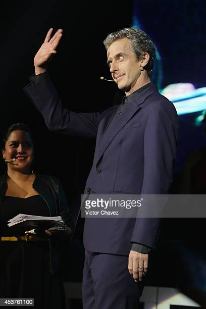 Actor Peter Capaldi speaks on stage during 'Doctor Who' World Tour fan event at Teatro Metropolitan on August 17 2014 in Mexico City Mexico