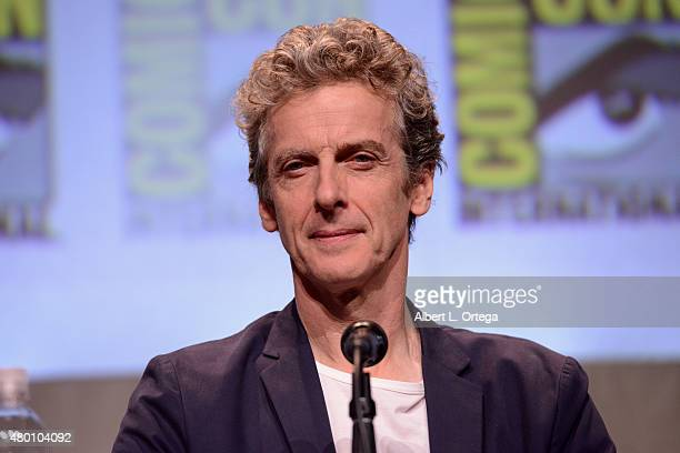 """Actor Peter Capaldi speaks onstage during BBC America's official panel for """"Doctor Who"""" during Comic-Con International 2015 at San Diego Convention..."""