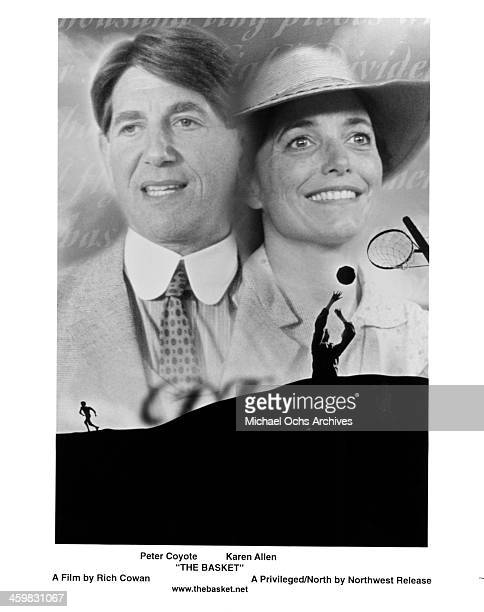 Actor Peter Coyote and actress Karen Allen from the set of the movie The Basket circa 1999