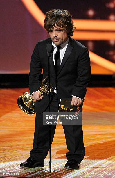 Actor Peter Dinklage accepts the Outstanding Supporting Actor in a Drama Series award onstage during the 63rd Annual Primetime Emmy Awards held at...
