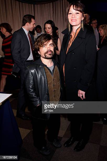 Actor Peter Dinklage and actor/director Erica Schmidt attend the 10th Annual Cabaret Gourmet at The American Airlines Theater penthouse on April 22...