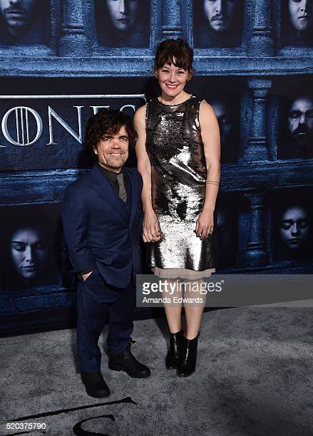 Actor Peter Dinklage and Erica Schmidt arrive at the premiere of HBO's Game Of Thrones Season 6 at the TCL Chinese Theatre on April 10 2016 in...