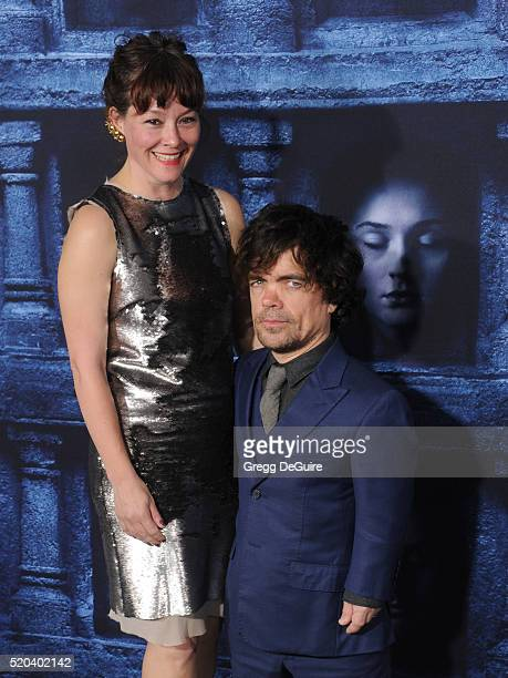 Actor Peter Dinklage and Erica Schmidt arrive at the premiere of HBO's Game Of Thrones Season 6 at TCL Chinese Theatre on April 10 2016 in Hollywood...