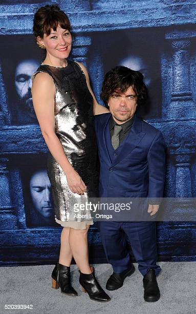 Actor Peter Dinklage and Erica Schmidt arrive for the Premiere Of HBO's Game Of Thrones Season 6 held at TCL Chinese Theatre on April 10 2016 in...