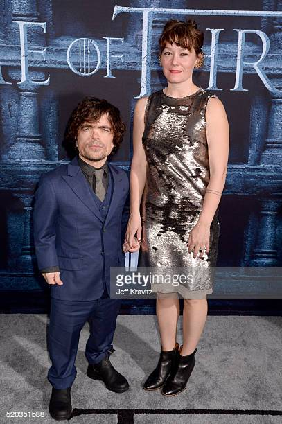 Actor Peter Dinklage and Erica Schmidt attend the premiere for the sixth season of HBO's Game Of Thrones at TCL Chinese Theatre on April 10 2016 in...
