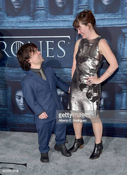 Actor Peter Dinklage and Erica Schmidt attend the premiere of HBO's Game Of Thrones Season 6 at TCL Chinese Theatre on April 10 2016 in Hollywood...