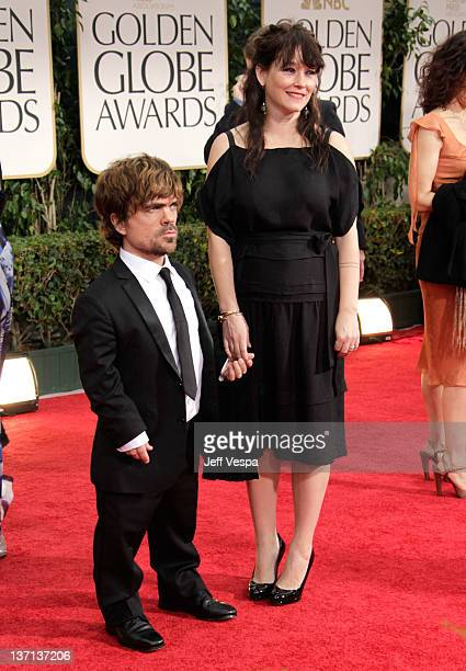 Actor Peter Dinklage and his wife Erica Schmidt arrive at the 69th Annual Golden Globe Awards held at the Beverly Hilton Hotel on January 15 2012 in...
