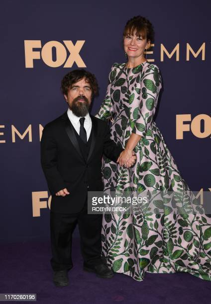 US actor Peter Dinklage and his wife Erica Schmidt arrive for the 71st Emmy Awards at the Microsoft Theatre in Los Angeles on September 22 2019