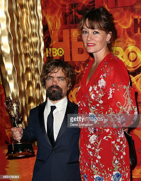 Actor Peter Dinklage and wife actress Erica Schmidt attend HBO's Official 2015 Emmy After Party at The Plaza at the Pacific Design Center on...