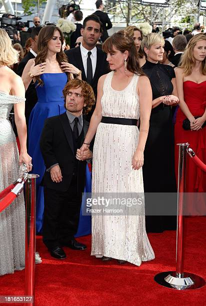 Actor Peter Dinklage and wife Erica Schmidt arrive at the 65th Annual Primetime Emmy Awards held at Nokia Theatre LA Live on September 22 2013 in Los...