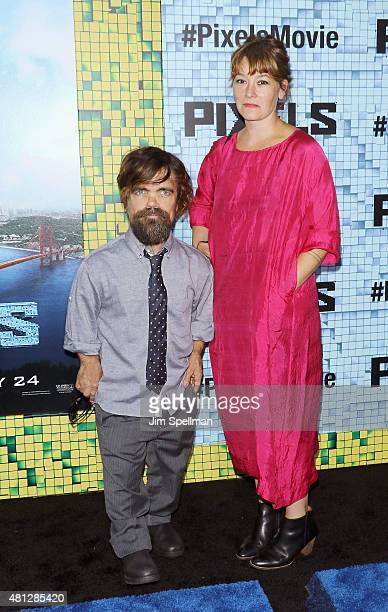 Actor Peter Dinklage and wife Erica Schmidt attends the Pixels New York premiere at Regal EWalk on July 18 2015 in New York City