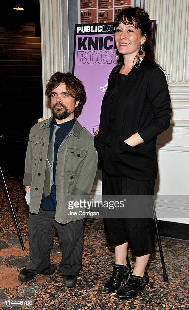 Actor Peter Dinklage and wife/director Erica Schmidt attend the opening night of Knickerbocker at The Public Theater on May 19 2011 in New York City