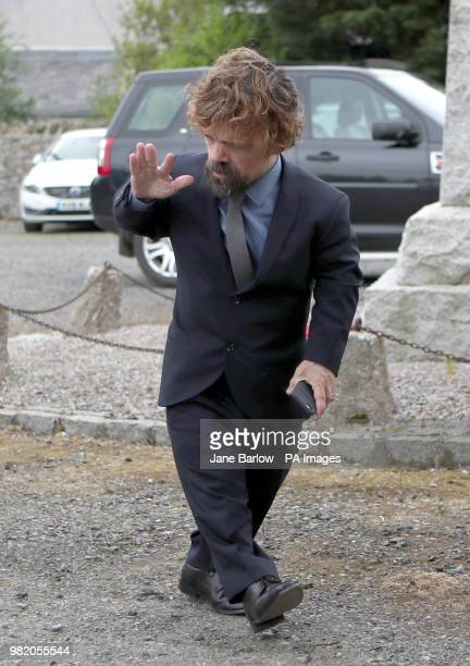 Actor Peter Dinklage arrives at Rayne Church Kirkton of Rayne in Aberdeenshire for the wedding ceremony of his Game Of Thrones costars Kit Harington...
