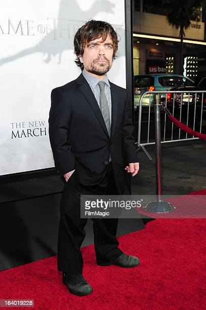 Actor Peter Dinklage attends 'Game Of Thrones' Los Angeles premiere presented by HBO at TCL Chinese Theatre on March 18 2013 in Hollywood California