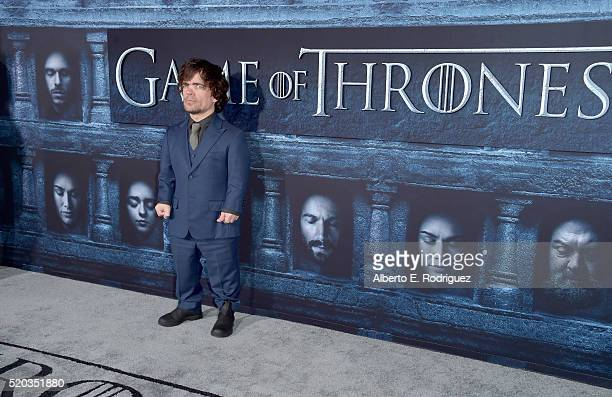 "Actor Peter Dinklage attends the premiere of HBO's ""Game Of Thrones"" Season 6 at TCL Chinese Theatre on April 10, 2016 in Hollywood, California."
