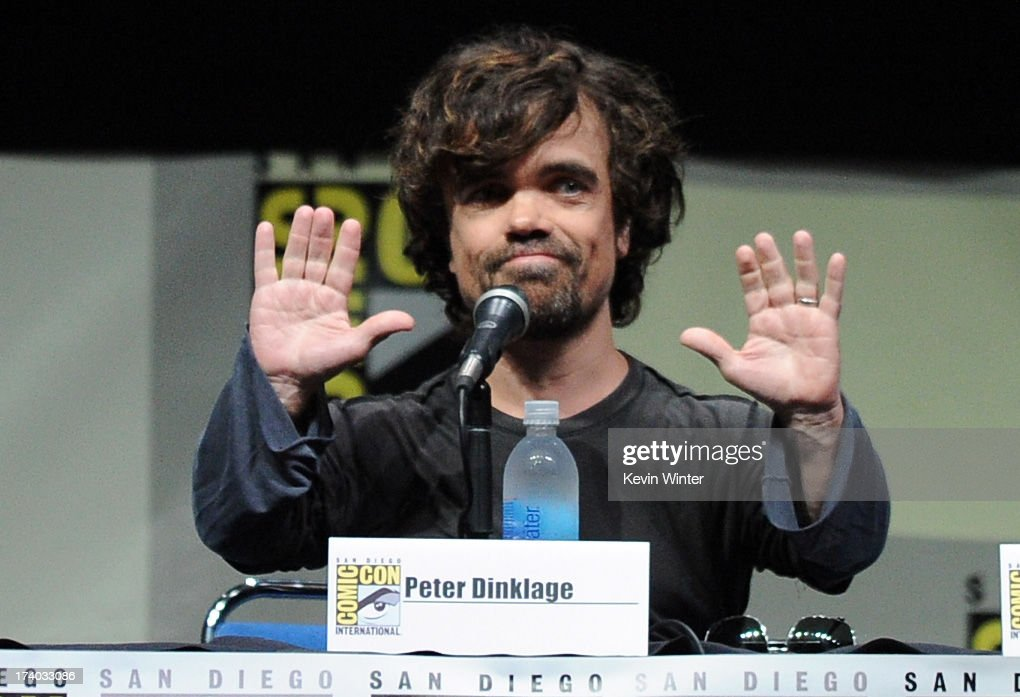 Actor Peter Dinklage speaks onstage during the 'Game Of Thrones' panel during Comic-Con International 2013 at San Diego Convention Center on July 19, 2013 in San Diego, California.