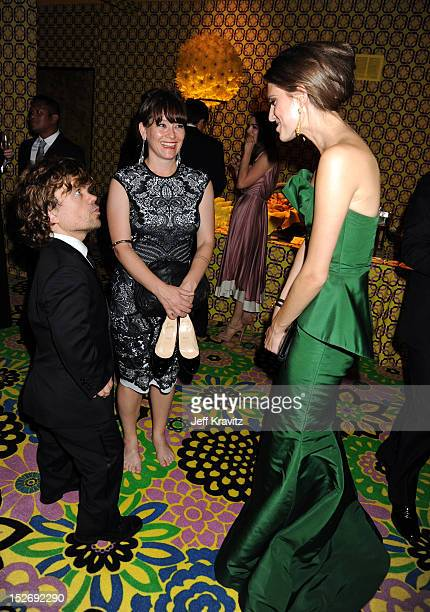 Actor Peter Dinklage wife Erica Schmidt and actress Allison Williams attend HBO's Official Emmy After Party at The Plaza at the Pacific Design Center...