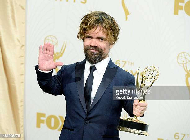 Actor Peter Dinklage, winner of Outstanding Supporting Actor in a Drama Series for 'Game of Thrones', poses in the press room at the 67th Annual...