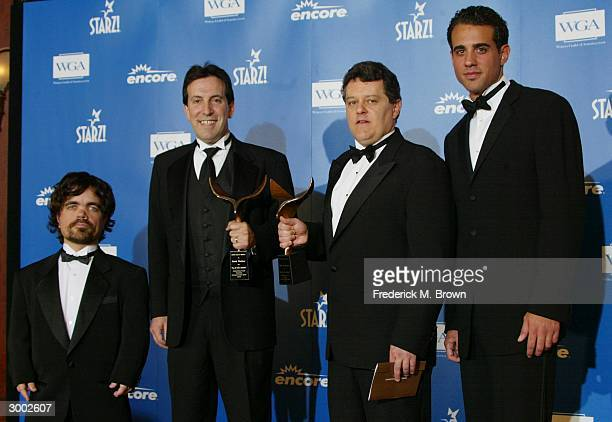 Actor Peter Dinklage winners for Best Comedy/Variety writers John McLaughlin and David Wechter and actor Bobby Cannavale pose backstage at the 56th...