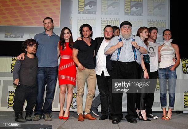 Actor Peter Dinklage, writer/producer D.B. Weiss, actors Emilia Clarke, Kit Harington, John Bradley, Jason Momoa, author/executive producer George...