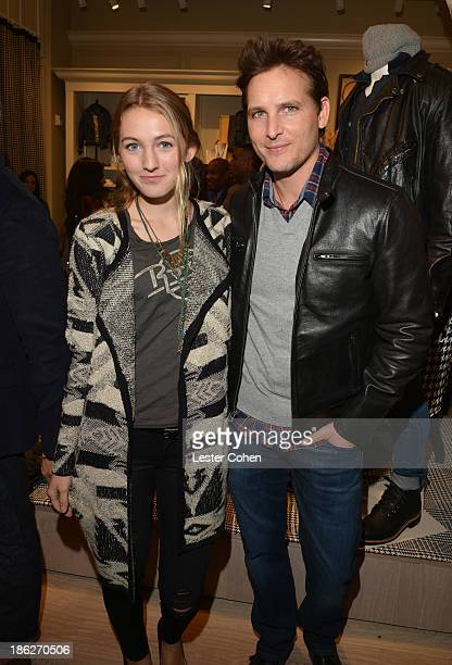 Actor Peter Facinelli and daugther Luca Facinelli attend the Lucky Brand Beverly Hills store opening on October 29 2013 in Beverly Hills California