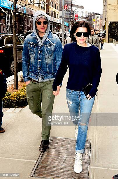 Actor Peter Facinelli and Jaimie Alexander are seen walking in Soho on March 30 2015 in New York City