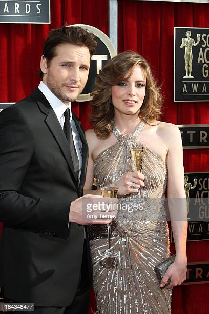 Actor Peter Facinelli and Vitale Tattinger arrive at the 19th Annual Screen Actors Guild Awards at The Shrine Auditorium on January 27 2013 in Los...