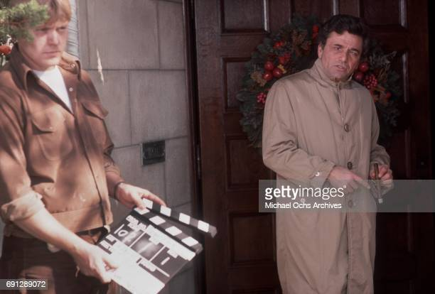 Actor Peter Falk on the set of his TV show Columbo on December 16 1975 in Los Angeles California