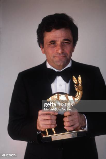 Actor Peter Falk poses with his Bambi Award on December 16 1975 in Los Angeles California