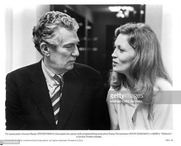 Actor Peter Finch and actress Faye Dunaway on set of the MGM movie 'Network' in 1976