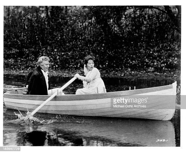 Actor Peter Finch and actress Glenda Jackson on set of the Universal Studio movie The Nelson Affair in 1973