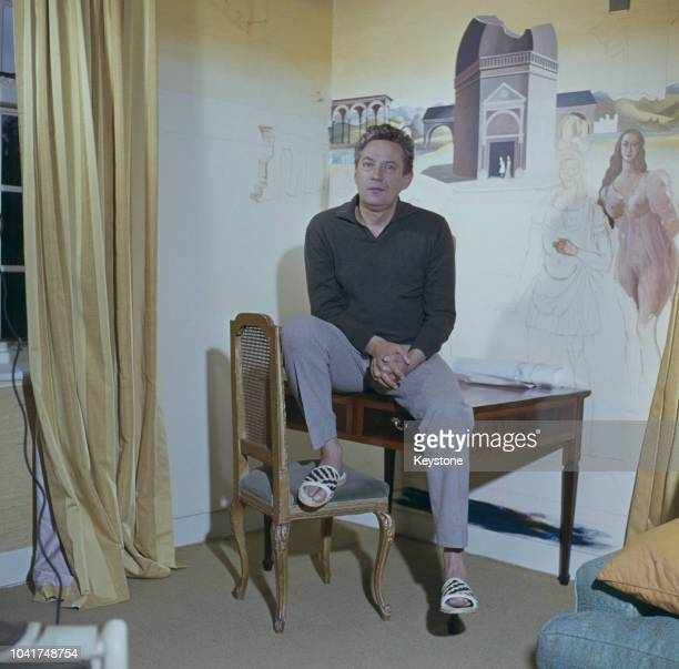 Actor Peter Finch at his home near Totteridge in Hertfordshire UK circa 1965