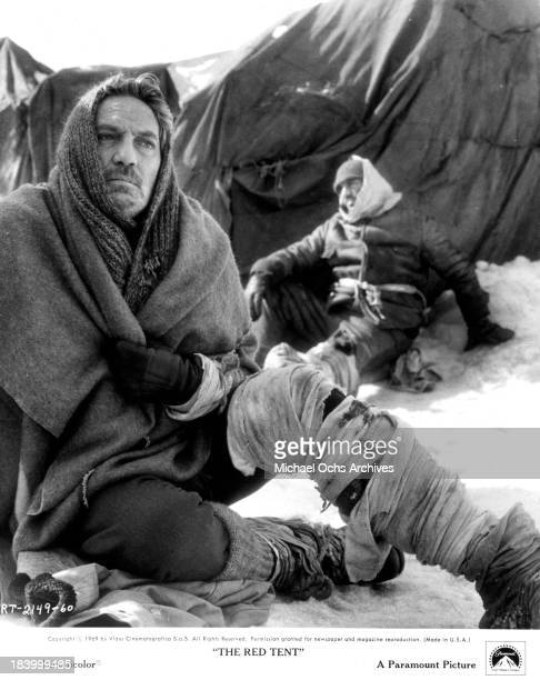 Actor Peter Finch on set of the Paramount Pictures movieThe Red Tent in 1969