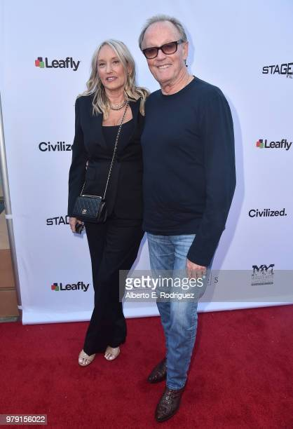 Actor Peter Fonda and Margaret DeVogelaere attend the premiere of Sony Pictures Classics' 'Boundries' at American Cinematheque's Egyptian Theatre on...