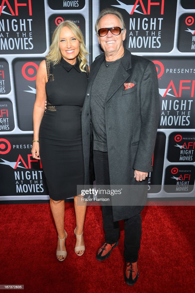 Actor Peter Fonda (R) and Parky Fonda arrive on the red carpet for Target Presents AFI's Night at the Movies at ArcLight Cinemas on April 24, 2013 in Hollywood, California.