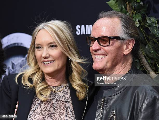"""Actor Peter Fonda and Parky Fonda attend the Universal Pictures' """"Jurassic World"""" premiere at Dolby Theatre on June 9, 2015 in Hollywood, California."""