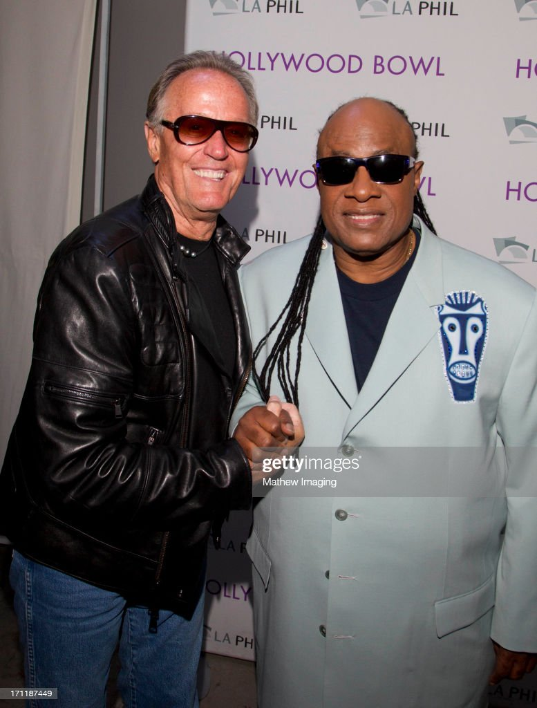 Actor Peter Fonda and recording artist Stevie Wonder attend Hollywood Bowl Opening Night Gala - Inside at The Hollywood Bowl on June 22, 2013 in Los Angeles, California.