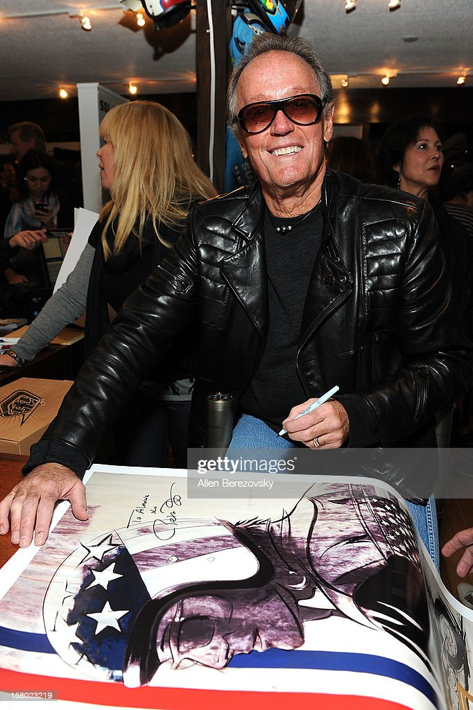 Actor Peter Fonda attends the launch of his new men's fashion line and protective riding gear collection for Troy Lee Designs at Troy Lee Boutique & Design Center on December 8, 2012 in Laguna Beach, California.