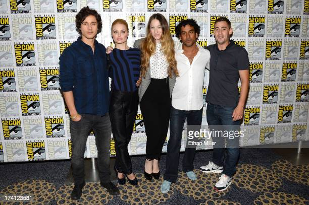 Actor Peter Gadiot actresses Emma Rigby and Sophie Lowe and actors Naveen Andrews and Michael Socha attend the Once Upon a Time in Wonderland press...