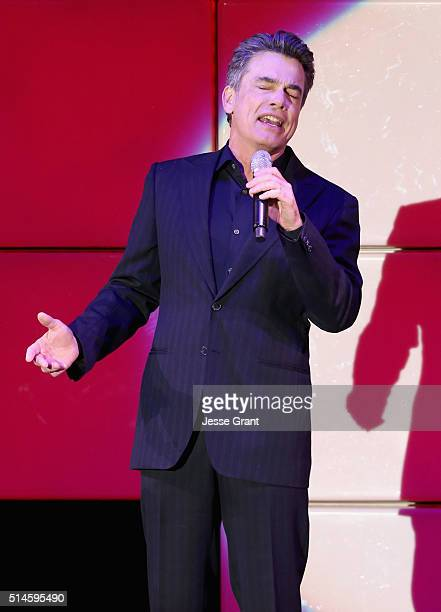 Actor Peter Gallagher performs onstage during the 24th and final A Night at Sardi's to benefit the Alzheimer's Association at The Beverly Hilton...